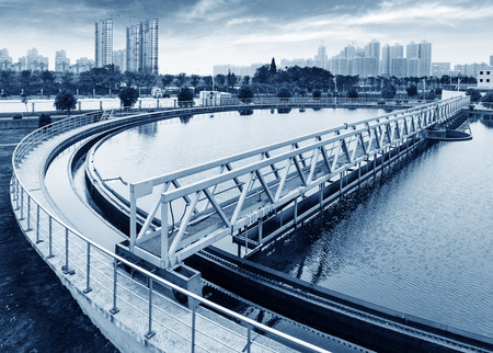 purification: Modern urban wastewater treatment plant.