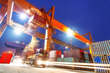 shipping container: industrial port with containers