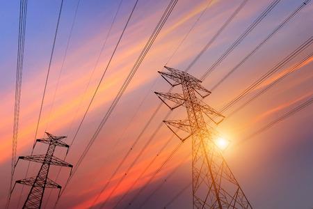 metal pole: high voltage post.High-voltage tower sky background.