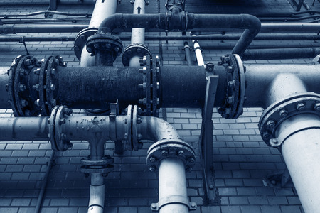 condensing: heating system. Pipelines, water pump, valves, manometers. Stock Photo