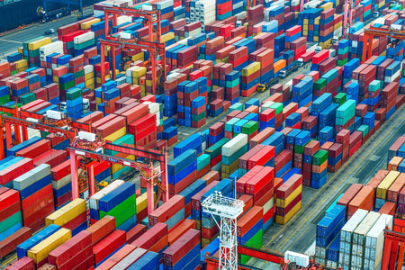 SHIPPING CONTAINERS: industrial port with containers