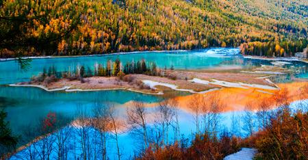 Kanasi Lake in autumn, Xinjiang, China photo