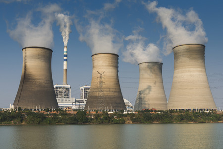 nuclear energy: tops of cooling towers of atomic power plant