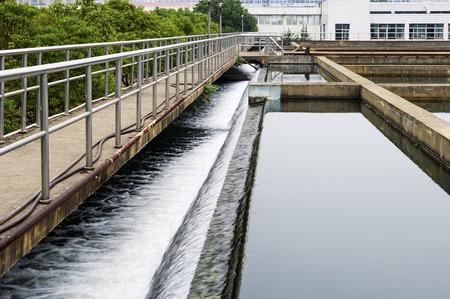 waste water: Modern urban wastewater treatment plant.