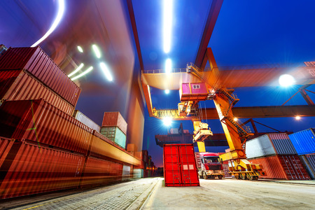 loading truck: industrial port with containers