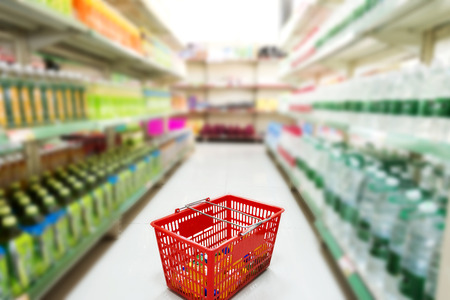 shopping trolley: Supermarket interior Stock Photo