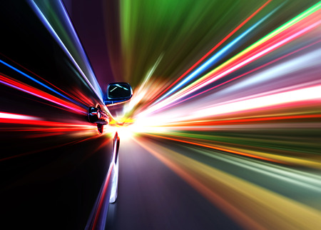 motion blur: car on the road with motion blur background Stock Photo