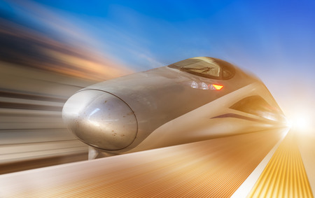 high speed train with motion blur 写真素材