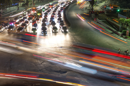 crossing street: traffic on junction in city