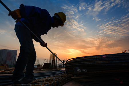construction worker on construction site Banque d'images
