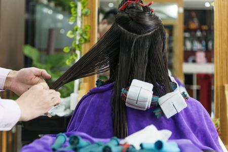 hair treatment: close up of treatment hair in the salon