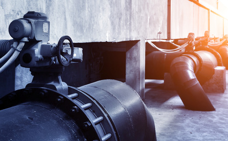 treatment plant: Water pipe in a sewage treatment plant Stock Photo