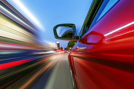 car on the road with motion blur background Banque d'images