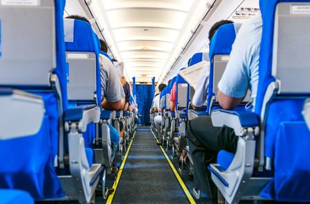 승객과 좌석의 내부 스톡 콘텐츠