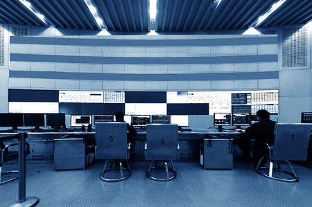 developed: developed technology inside the railway control room Stock Photo