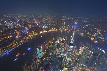 nightfall: aerial view of shanghai lujiazui finance