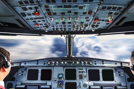 plane cockpit and cloudy sky Banco de Imagens