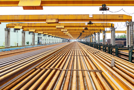 metallurgist: Steel pipes on the rack Stock Photo