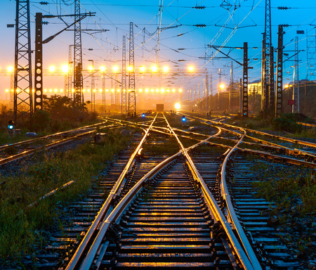 Cargo train platform at sunset with container Archivio Fotografico