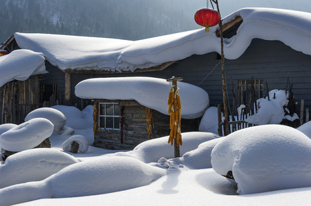snowscape: Chinese farmhouse snowscape
