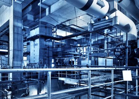 gas burner: Modern boiler room equipment for heating system. Pipelines, water pump, valves, manometers. Stock Photo