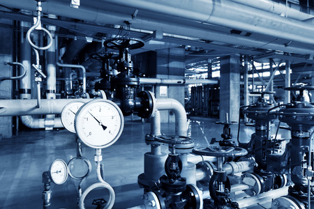 Thermal power plant piping and instrumentation, modern factory machinery.