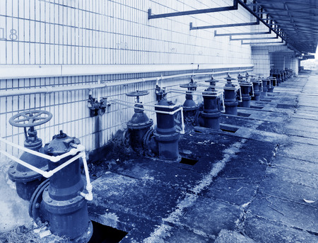 water treatment plant: Water pipe in a sewage treatment plant Stock Photo