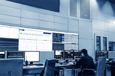developed technology inside the railway control room Stockfoto