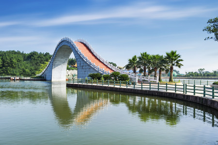 history building: Suzhou gardens, under the blue sky bridges and lakes