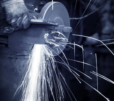 tool and die: metal sawing close up
