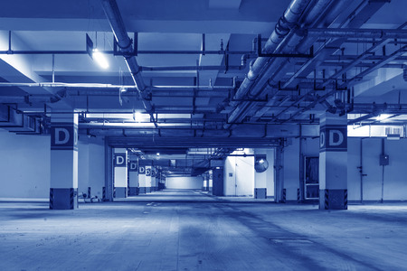 parking lot interior: New underground car park, empty without a car.