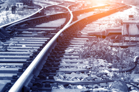 railway points: railway track Stock Photo