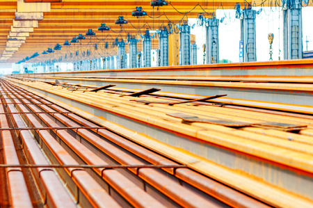 capping: Steel pipes on the rack Stock Photo