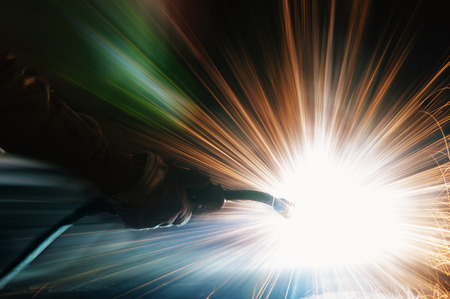 welding: Welding with sparks Stock Photo