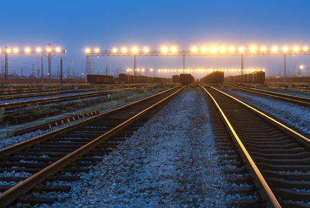 railway points: Railway tracks in the evening