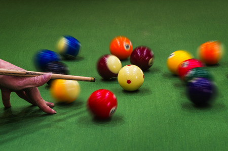 pool table: Carom billiards straight single shot Stock Photo