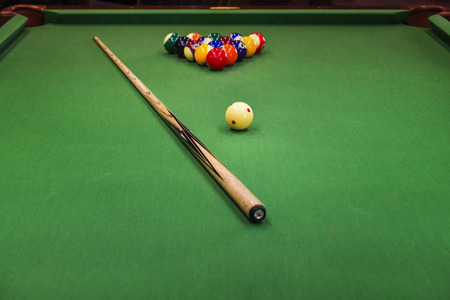 billiards hall: Close up of billiard table
