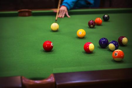 billiards hall: Carom billiards straight single shot Stock Photo