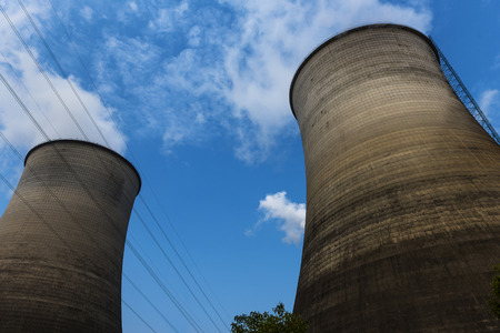 power plant: tops of cooling towers of atomic power plant