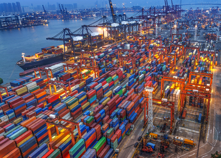 commerce and industry: industrial port with containers