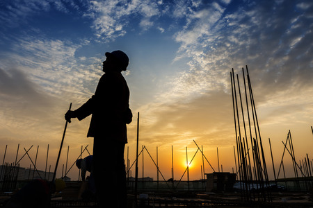 site: construction worker on construction site Stock Photo