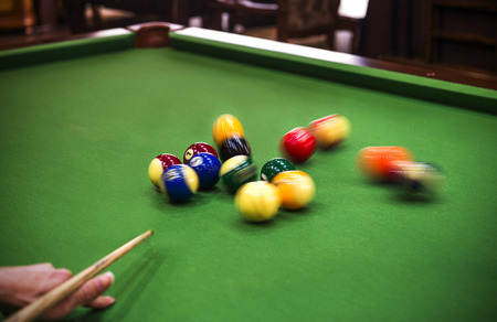 billiards halls: Carom billiards straight single shot Stock Photo