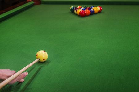 pool tables: Carom billiards straight single shot Stock Photo
