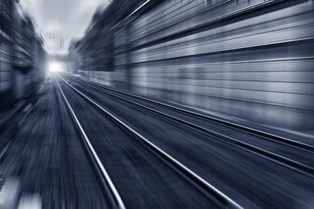 crossway: Speed motion railway Stock Photo