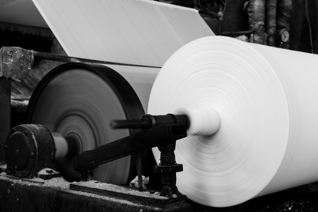 paper plates: Paper and pulp mill Stock Photo