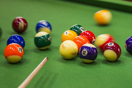 hand rails: Carom billiards straight single shot Stock Photo