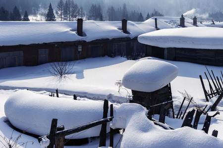 characteristic: Chinese characteristic farmhouse snowscape,