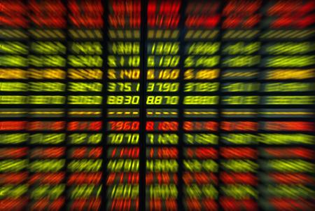 stock price: Colored ticker board on black