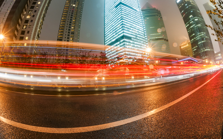 huang pu: light trails on the modern building background in shanghai china