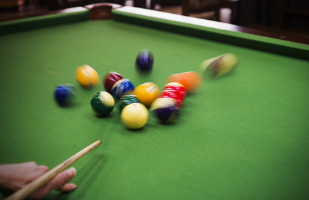 pool halls: Carom billiards straight single shot Stock Photo